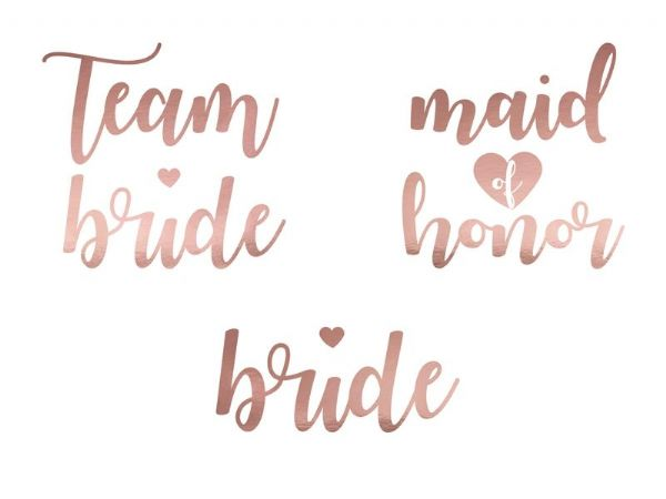 Rose Gold Bachelorette Party Temporary Tattoos
